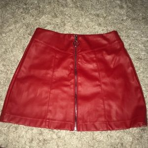 Red Leather Zip Up Forever 21 Miniskirt